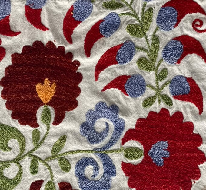 Flower patterns on a tablecloth from Turkey