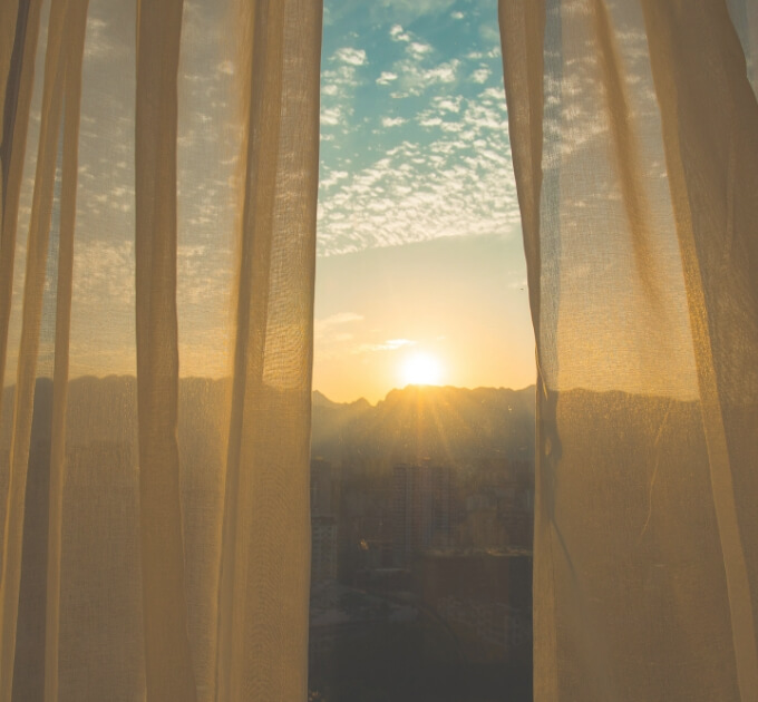 curtains with a sunset view